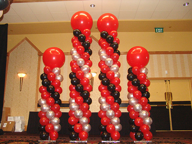 Balloon columns red silver black