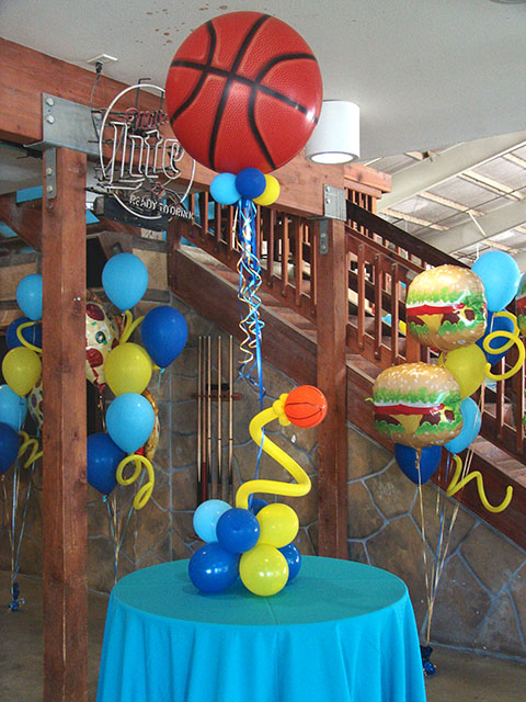 Balloon Basketball themed centerpieces denver